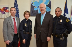 From Left to Right: Lieutenant Alfred Diorio, Youth Services Deputy Chielf Christina Smith, Narcotics Division Senator John Cornyn Deputy Chief Gil Garza, Crimes Against Persons Division