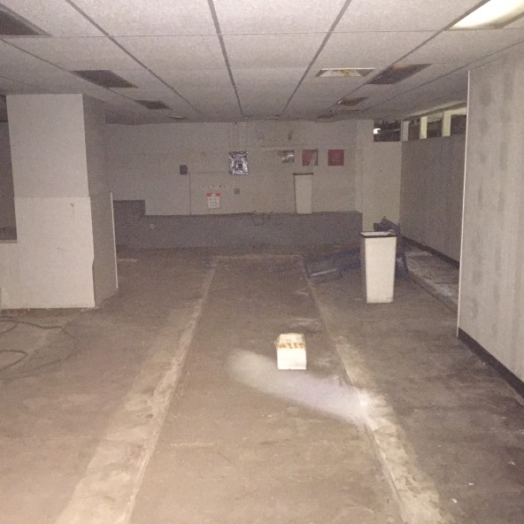 The basement contained 3 lanes for firearm training.