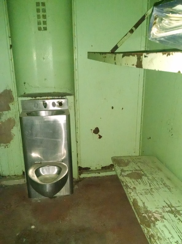 There were no mattresses in these cells.