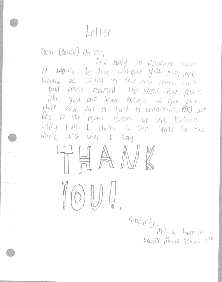 Students at fowler middle school write letters to dallas police tyl expocarfo Gallery