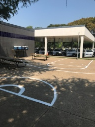 Re-striping of basketball court