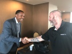 Lieutenant Yancy Nelson Greeting Metro PCS Representative